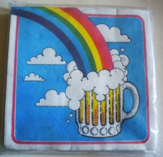 Vtge Pack of Cost Plus Rainbow/Beer Paper Napkins - NIP