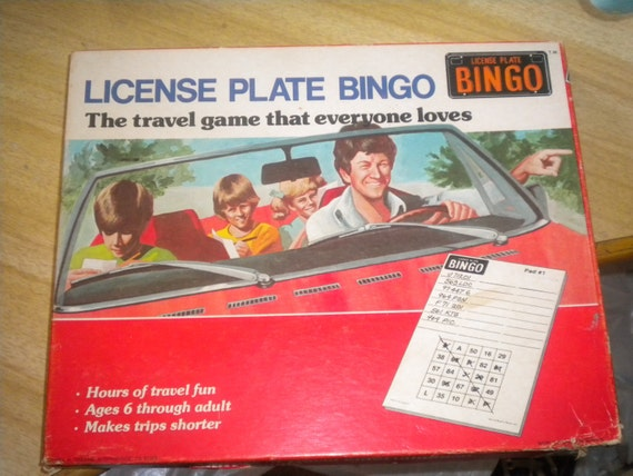 1970s Vintage License Plate Bingo Game