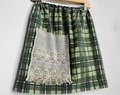 Womens Upcycled Skirt. Army Print Skirt. Vintage Lace Skirt. Womens Upcycled Clothing. Repurposed Clothing. Recycled Clothing.