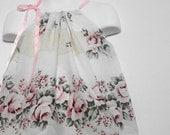 Spring Fashion. Upcycled Baby Clothing. Pillowcase Dress. Little Girls Dress. Pink Rose Dress.