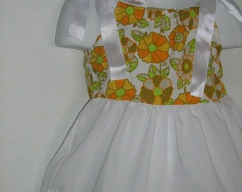 Upcycled Baby Dress. Retro Fancy Pants Infant Outfit  Size 8 to 12 month.