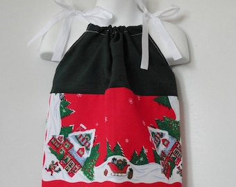 Girls Christmas Dress. Baby Girl Pillowcase Dress. Christmas Dress. Girls Upcycled Christmas Dress.  Length 15 inches.