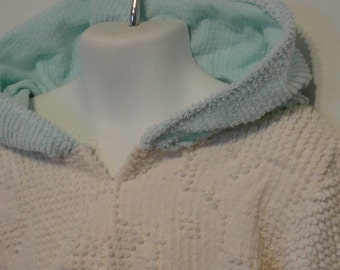Baby Hoodie. Baby Girl Upcycled Clothing. Vintage Chenille Hoodie. Baby Sweater. Size 3T