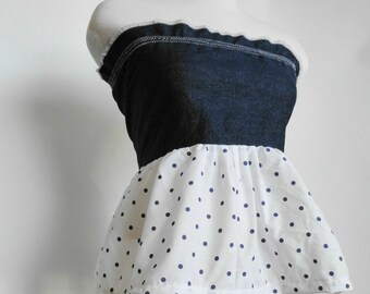 Womens Modern Pillowcase Dress / Tunic Tube Top. Eco Fashion. Denim Polka dot.