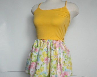 Womens Upcycled Skirt. Bright Floral Skirt. Romantic. Womens Upcycled Clothing. Repurposed Clothing. Recycled Clothing.