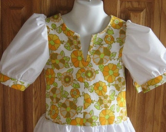 Toddler Girl Upcycled Dress. Retro Upcycled Balloon Dress Size 2T.
