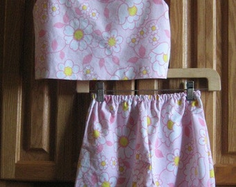 Spring Chic Upcycled Tie Up Vest and Matching Shorts Size 7 to 8