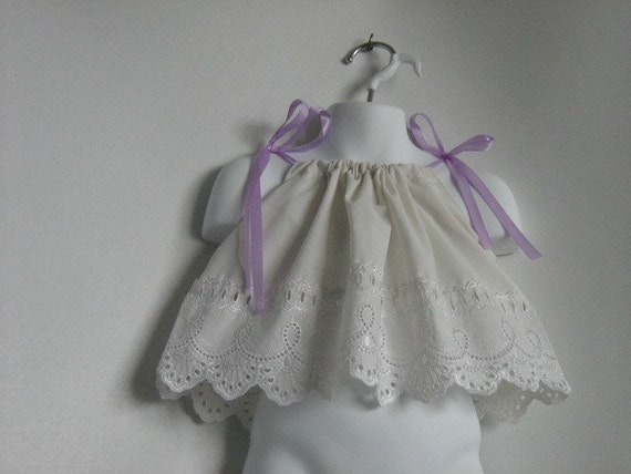 Baby girl Pillowcase Dress. Pillowcase Dress / Top .  Vintage Lace. Size Newborn to 12 Month. Length 10 inches