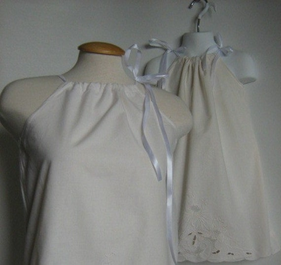 Mommy and Me Dress, Matching Spring Pillowcase Dress and Top. Vintage Cutwork. White.