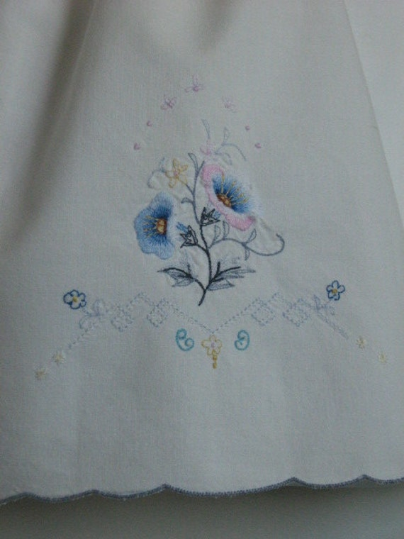 Baby girl Upcycled Dress.Vintage Embroidered Pillowcase Dress / top. Size 12 Month, 18 month, 24 Month. Length 17.5 inches