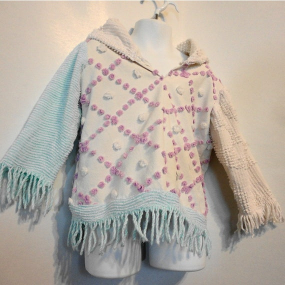 Toddler Sweater. Vintage Chenille Hoodie. Shabby Chic Toddler girl upcycled clothing.Size 2T to 3T.