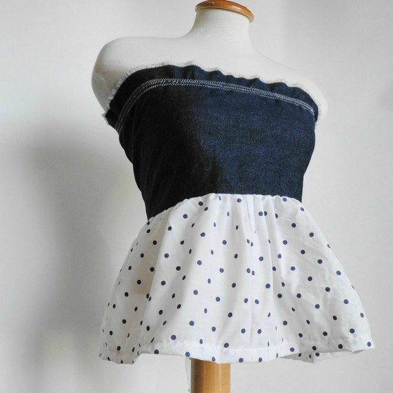 Womens Modern Pillowcase Dress / Tunic Tube Top. Eco Fashion. Denim Polka dot.