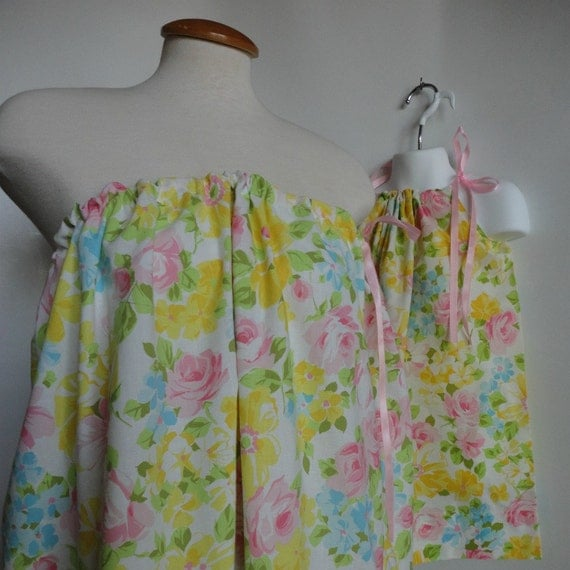 Reserved for valdes0830 Mommy and Me Matching Pillowcase Dress and Tunic Tube Top. Bright Yellow Flowers. Mother Daughter Clothing.
