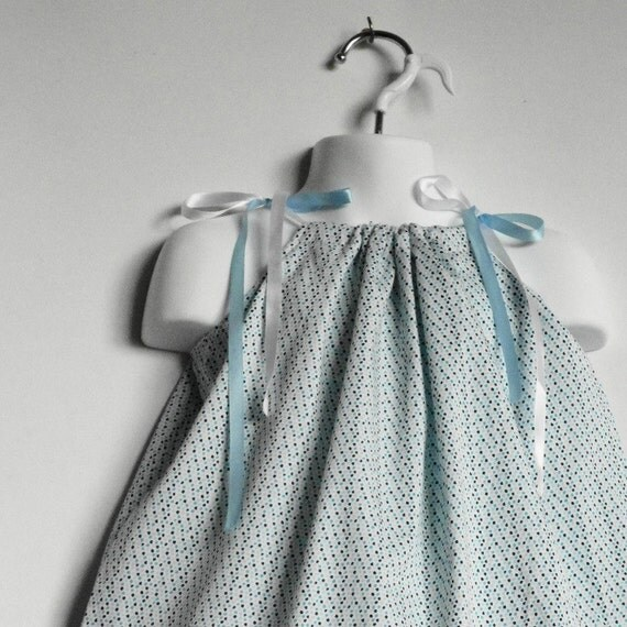 Kids Dress. Blue Dress. Polka Dot Dress. Toddler Girl Pillowcase Dresses / Top.  Size 24 Month, 2T, 3T, 4T. Length 19 inches. Free Shipping