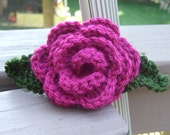 Crocheted Rose Brooch with Leaves