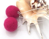 Felt earrings with sterling silver 925 (long pink earrings) - SebsJewellery