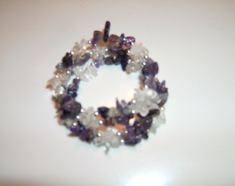 Quartz and Amethyst  Memory Wire Bracelet
