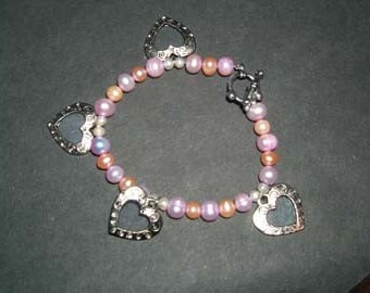 Peach and Pink Pearl Bracelet
