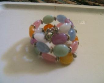 Pastel Color Memory Wire Bracelet