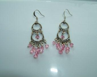 Pink Swarovski Chandelier Earrings