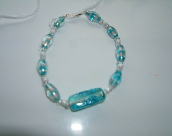 Teal and White Bracelet
