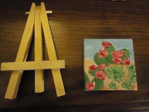 Cactus pintura Original acrílico Mini con Mini caballete