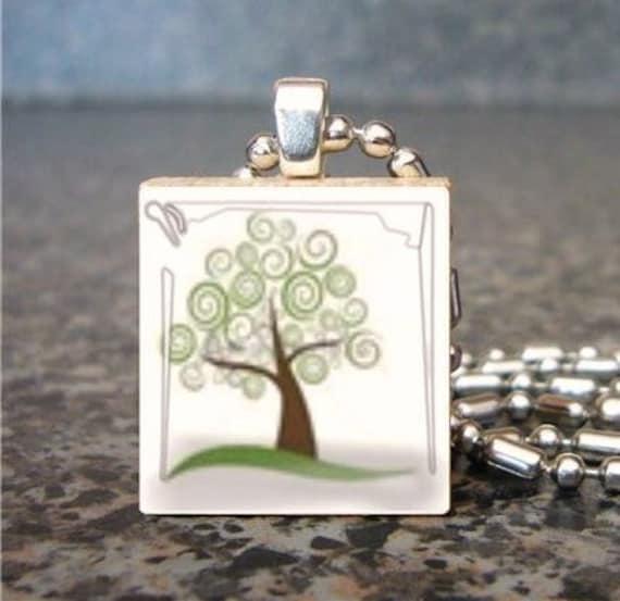 Go Green Ecology Tree - Scrabble Charm