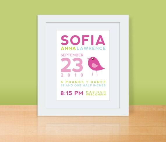 Custom Birth Announcement Print - BIRD Wall art