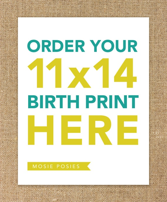 11x14 Birth Announcement - You pick and customize