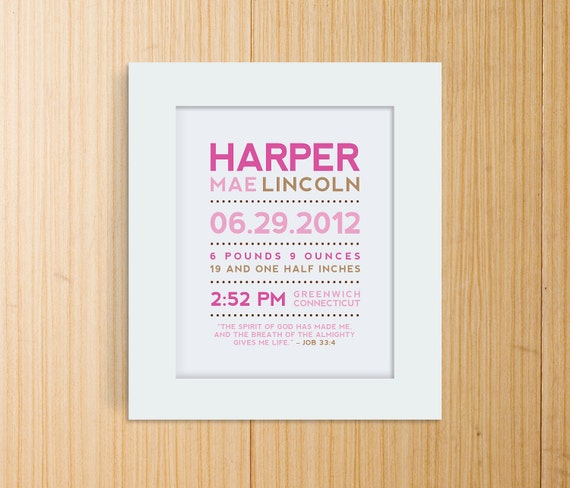 Modern Typography Birth Print with Bible Verse or Poem