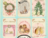 Digital.Beatrix Potter Christmas Collage Sheet Scrapbooking-Collage Sheet-Digital Card-Digital Image