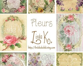 Fleurs--Digital Scrapbooking-Collage Sheet-Digital Card-Digital Image