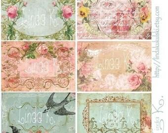Digital Scrapbooking-Collage Sheet-Digital Card-Digital Image--Collage Sheet Bookplate Fleur