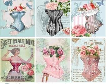 Corsets-Digital Scrapbooking-Collage Sheet-Digital Image-Digital Card...
