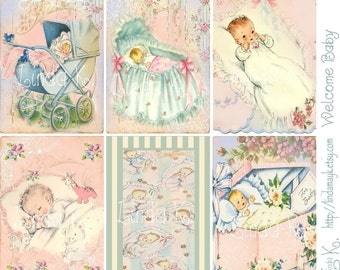 Welcome Baby--Digital Scrapbooking-Collage Sheet-Digital Card-Digital Image