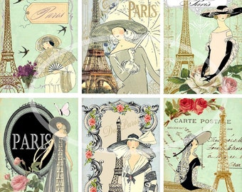 Digital Scrapbooking-Collage Sheet-Digital Card-Digital Image...Collage Sheet---Ladies of Paris