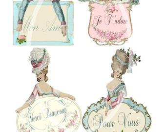 Half Marie Labels--Digital Scrapbooking-Collage Sheet-Digital Card-Digital Image