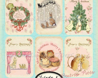 Digital.Beatrix Potter Christmas Collage Sheet Scrapbooking-Collage Sheet-Digital Card-Digital Image