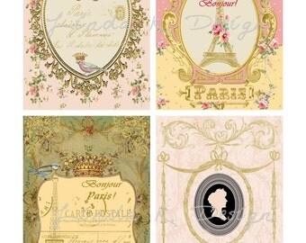 Digital Scrapbooking-Collage Sheet-Digital Image-Digital Card-----Paris Encore
