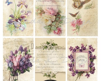 April Flowers Digital Scrapbooking-Collage Sheet-Digital Image-Digital Card