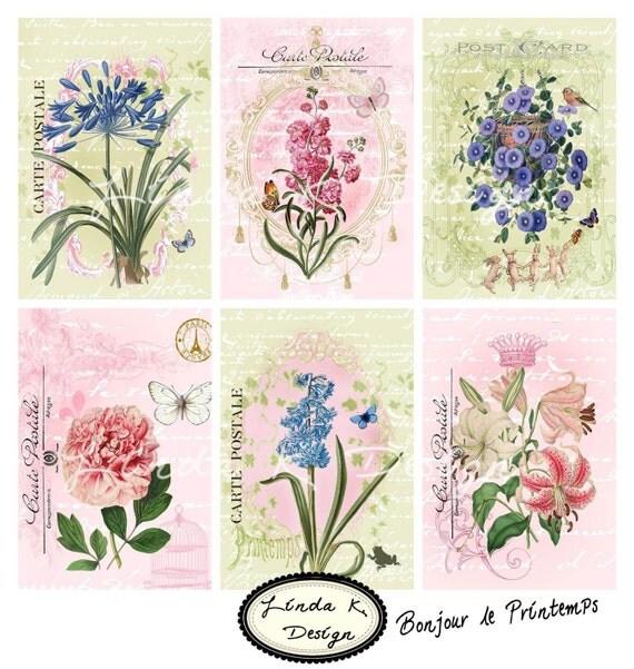 Bonjour le Printemps--Digital Scrapbooking-Collage Sheet-Digital Card-Digital Image...
