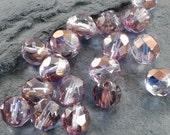 50 Fire Polished Czech Glass Beads 8mm Purple Gold Finish