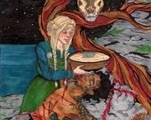 Nearly Full - 8.5X11 Loki and Sigyn Norse Mythology Art Print
