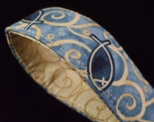 Key Fob Wristlet - Blue and Beige Christian Fish Print