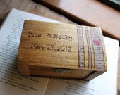 Rustic Woodburned Ring Bearer Box -Birch Forest