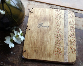 Custom Wedding Guest Book - Autumn Birch Tree