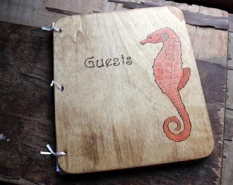 Custom Wedding Guest Book - Seahorse
