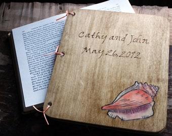 Custom Wedding Guest Book - Conch Shell