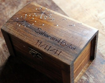 Rustic Woodburned Ring Bearer Box - Dandelion- Ring Pillow - Ring Box - Anniversary gift - Rustic Wedding Ring Box