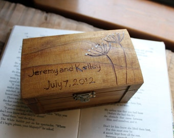 Rustic Woodburned Ring Bearer Box - Queen Annes Lace - Ring Pillow - Wedding Ring Box